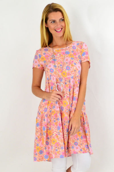 Pink Floral Ruffle Tunic Dress