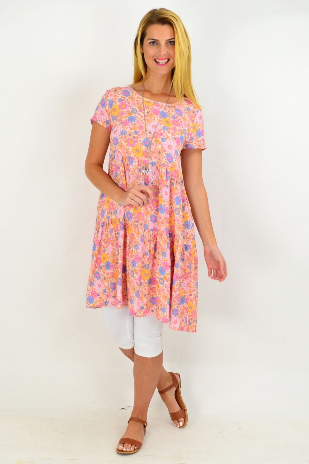 Pink Floral Ruffle Tunic Dress | I Love Tunics | Tunic Tops | Tunic | Tunic Dresses  | womens clothing online