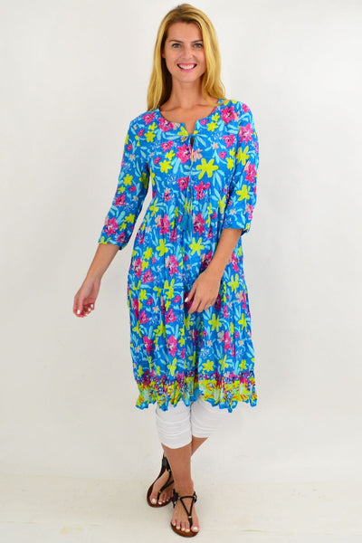Blue Pattern Tie Neck Tunic Dress