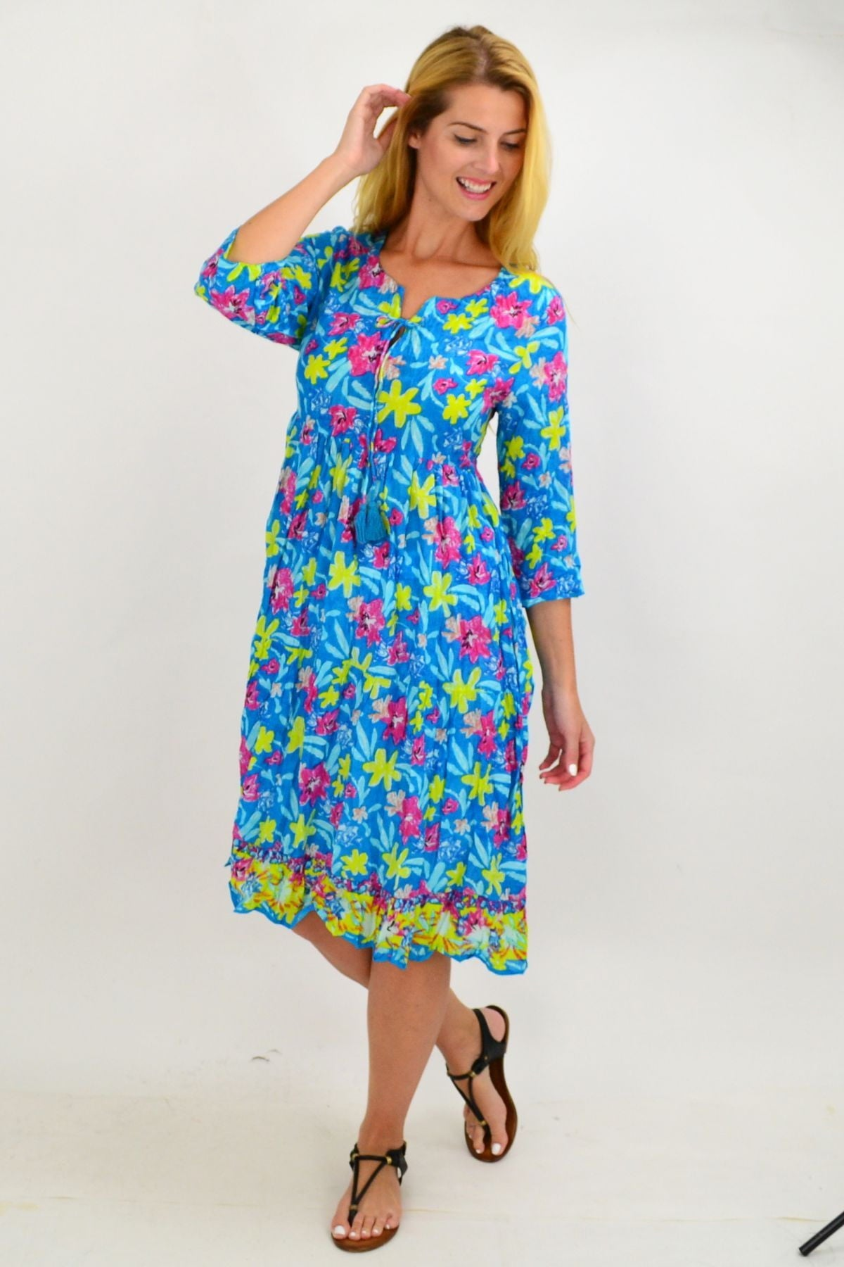 Blue Pattern Tie Neck Tunic Dress | I Love Tunics | Tunic Tops | Tunic | Tunic Dresses  | womens clothing online