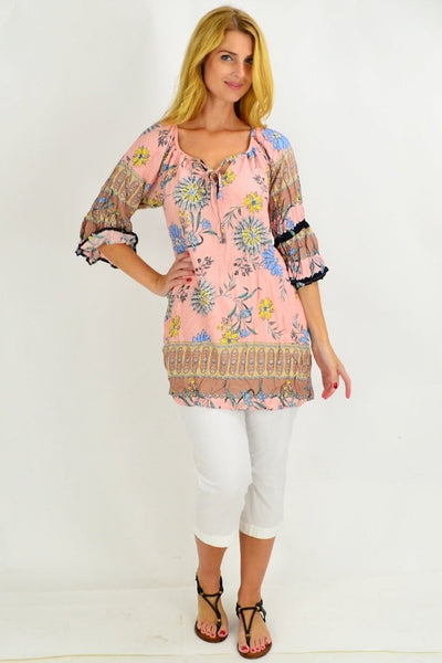 Soft Pink Brown Crinkle Tunic Blouse