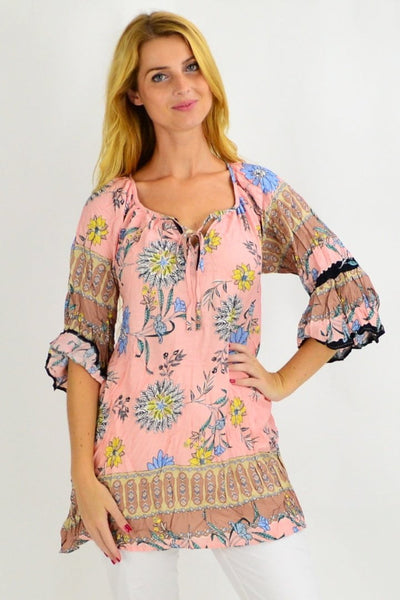 Soft Pink Brown Crinkle Tunic Blouse | I Love Tunics | Tunic Tops | Tunic | Tunic Dresses  | womens clothing online