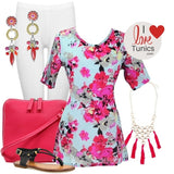 Pink Flowers Cotton Tunic - at I Love Tunics @ www.ilovetunics.com = Number One! Tunics Destination