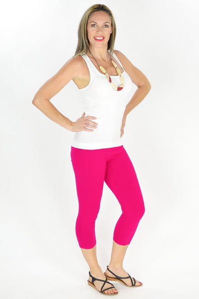 Pink Cotton 3/4 Leggings