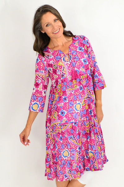 One Summer Long Pink Carnival Tunic Dress