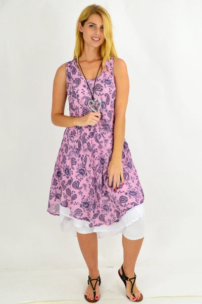 Pink Paisley Double Hem Tunic Dress