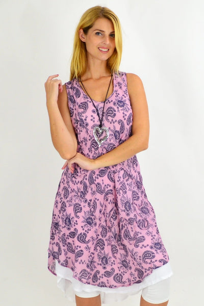 Pink Paisley Double Hem Tunic Dress | I Love Tunics | Tunic Tops | Tunic | Tunic Dresses  | womens clothing online