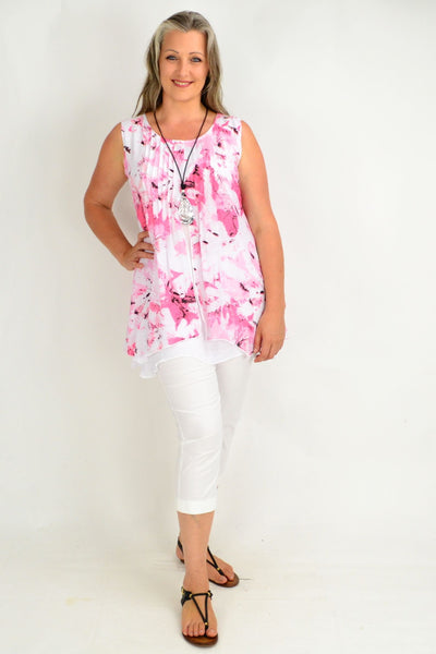 Patti Pink Floral Tunic Top