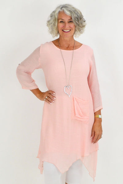 Light Pink Nora Long Tunic Top | I Love Tunics | Tunic Tops | Tunic Dresses | Women's Tops | Plus Size Australia | Mature Fashion