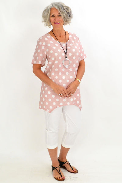 Pink Stacey Spot Tunic Blouse