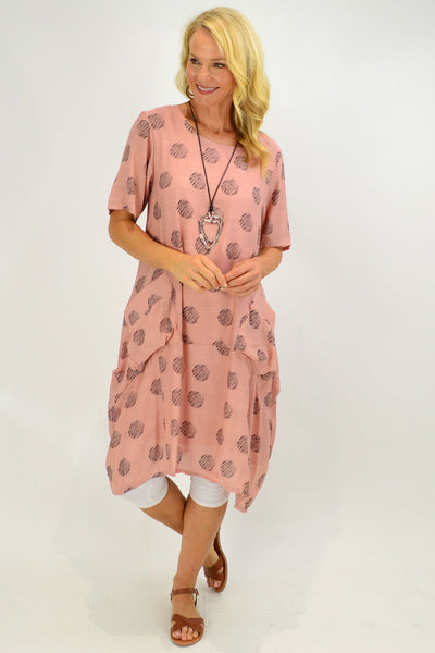 Dusty Pink Dots Bubble Tunic Dress
