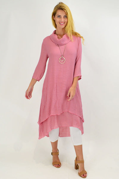 Dusty Pink Cowl Neck Tunic Dress