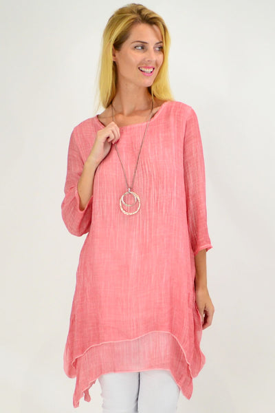 Pink Textured 3/4 Sleeve Overlay Tunic Top | I Love Tunics | Tunic Tops | Tunic | Tunic Dresses  | womens clothing online
