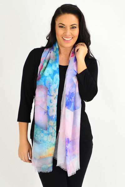 Purple Small Floral Print Scarf