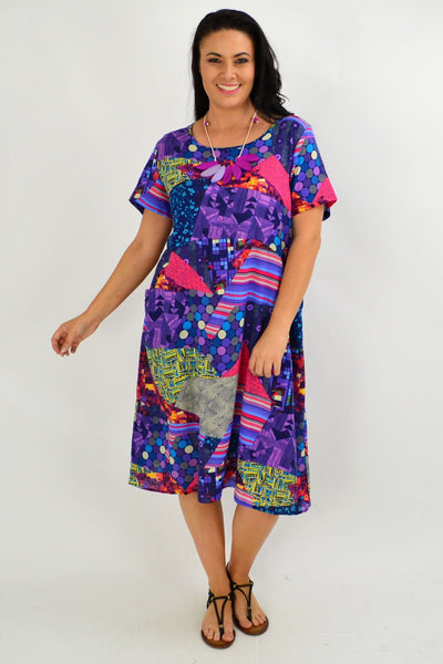 Purple Pattern Tunic Dress