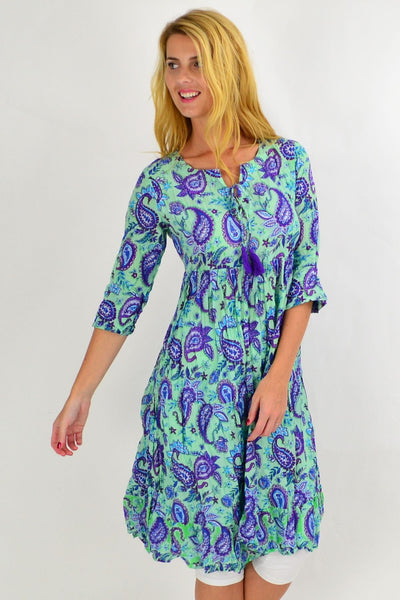 Purple Paisley Tie Neck Tunic Dress | I Love Tunics | Tunic Tops | Tunic | Tunic Dresses  | womens clothing online
