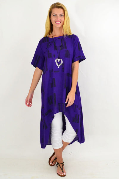 Purple Pattern Linen Hi Low Hem Tunic