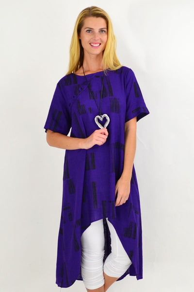 Purple Pattern Linen Hi Low Hem Tunic | I Love Tunics | Tunic Tops | Tunic | Tunic Dresses  | womens clothing online