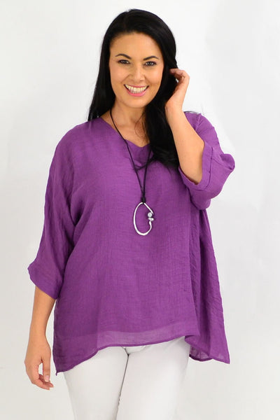 Purple Slop Sleeve Tunic Top