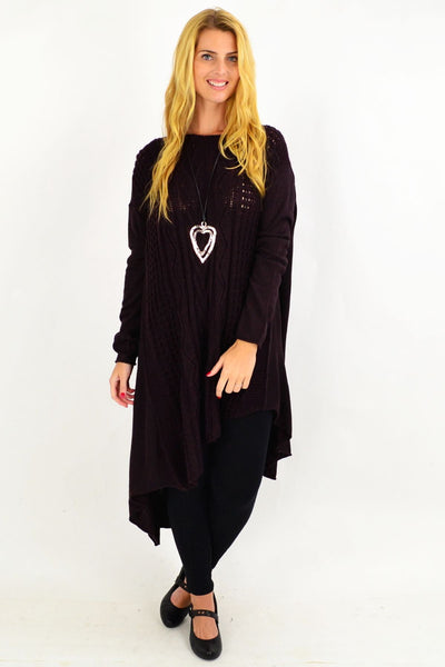 Cable Knit Dark Burgundy Tunic Jumper