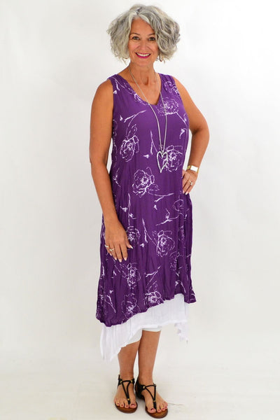 Rose Overlay Purple Tunic Dress