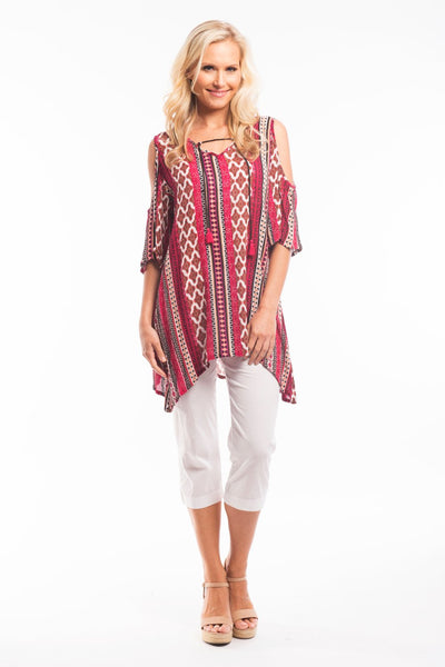 Red Carnival Tunic Top