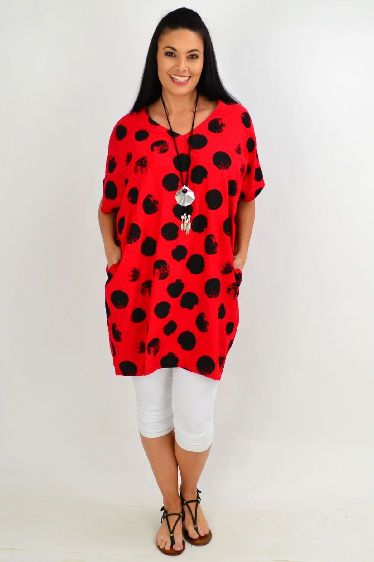 Red Dot Cocoon Tunic Top | I Love Tunics | Tunic Tops | Tunic | Tunic Dresses  | womens clothing online