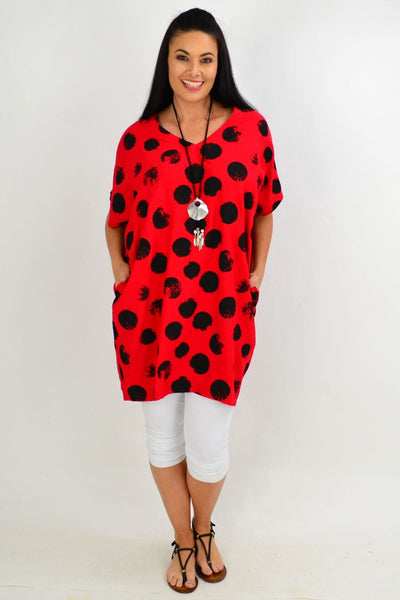 Red Dot Cocoon Tunic Top
