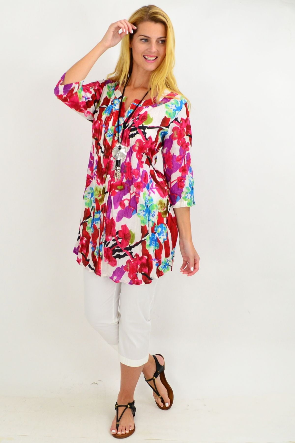 Pink Crinkle Evie Tunic Shirt | I Love Tunics | Tunic Tops | Tunic | Tunic Dresses  | womens clothing online