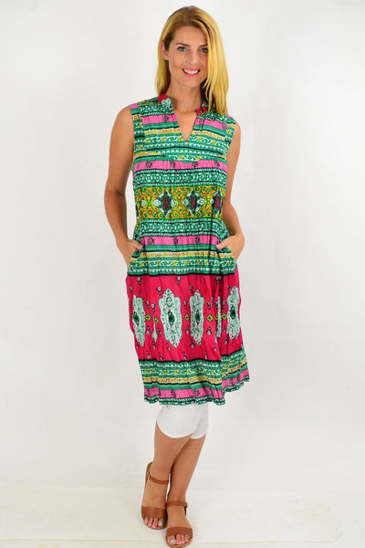 Oriental Green Line Tunic Dress