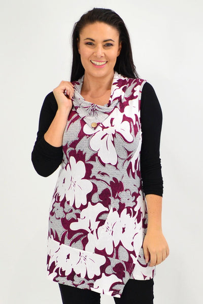 Red Hibiscus Layering Tunic Top - I Love Tunics
