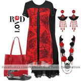 Red Black Floral Tunic - at I Love Tunics @ www.ilovetunics.com = Number One! Tunics Destination