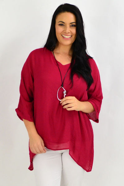 Maroon Red Slop Sleeve Tunic Top