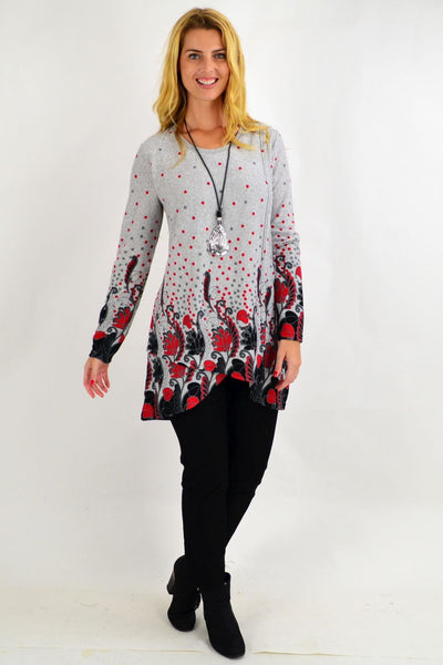 Red Floral Ferguson Tunic Top