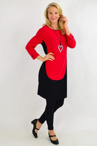 Red Button Sleeve Tunic Dress