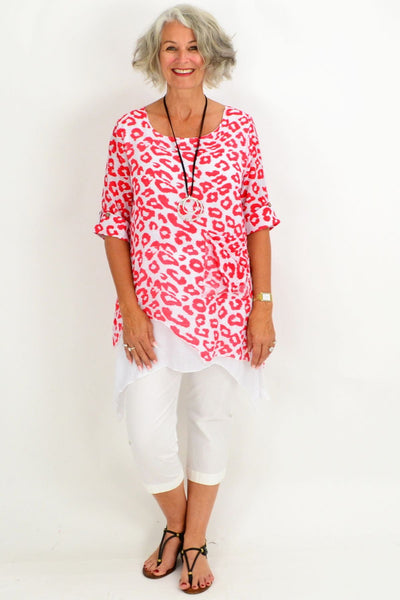 Red Mia Overlay Tunic Top