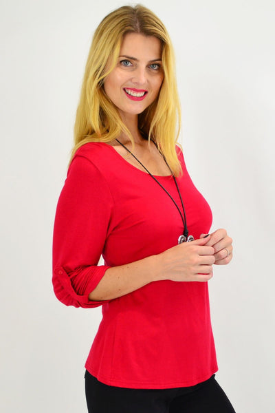 Red Button Up Long Sleeve Basic Top - I Love Tunics