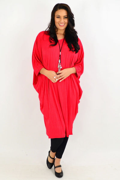 Free Size Red Ribbed Oversized Tunic Dress