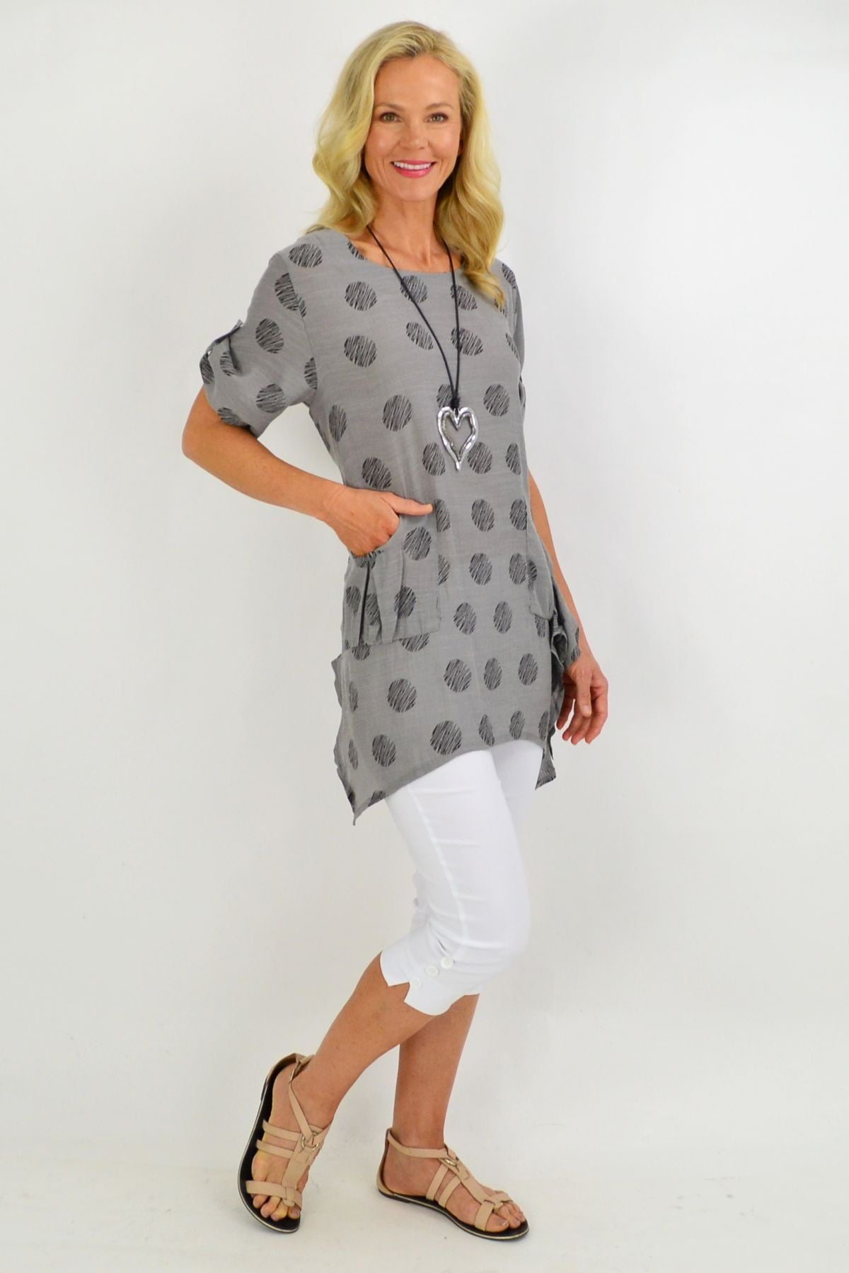 Grey Rita Relaxed Tunic Top