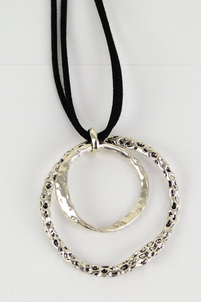 Double Hoop Metal Necklace