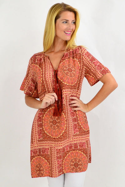 Back to the 70s Tie Up Neck Tunic Dress | I Love Tunics | Tunic Tops | Tunic | Tunic Dresses  | womens clothing online