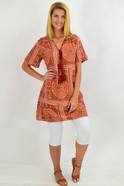 Back to the 70s Tie Up Neck Tunic Dress