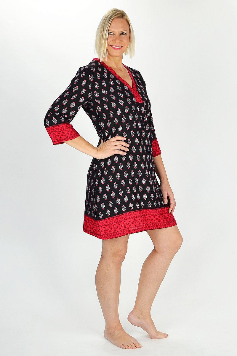 Red Kerala Tunic - at I Love Tunics @ www.ilovetunics.com = Number One! Tunics Destination