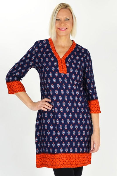 Orange Kerala Tunic - at I Love Tunics @ www.ilovetunics.com = Number One! Tunics Destination