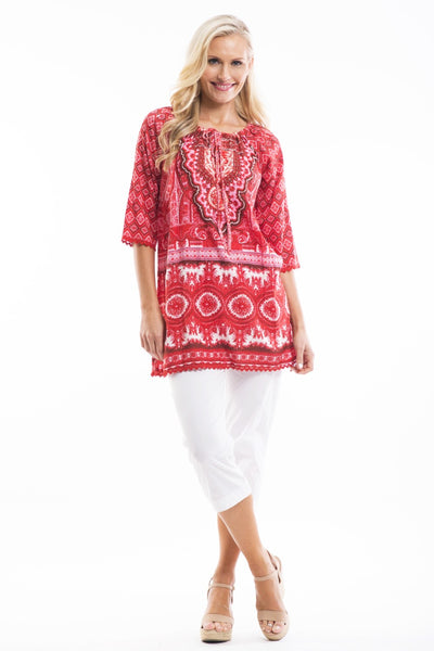 Red White Moroccan Tunic