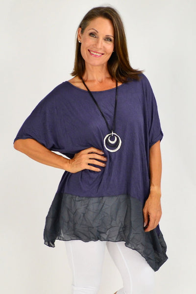 Navy Blue Heron Island Plus Size Tunic | Cotton Village | Relaxed Top
