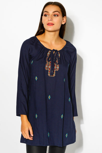 Navy Madelyn Tunic Top