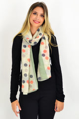 Sage Green Orange Spot Scarf | I Love Tunics | Tunic Tops | Tunic | Tunic Dresses  | womens clothing online