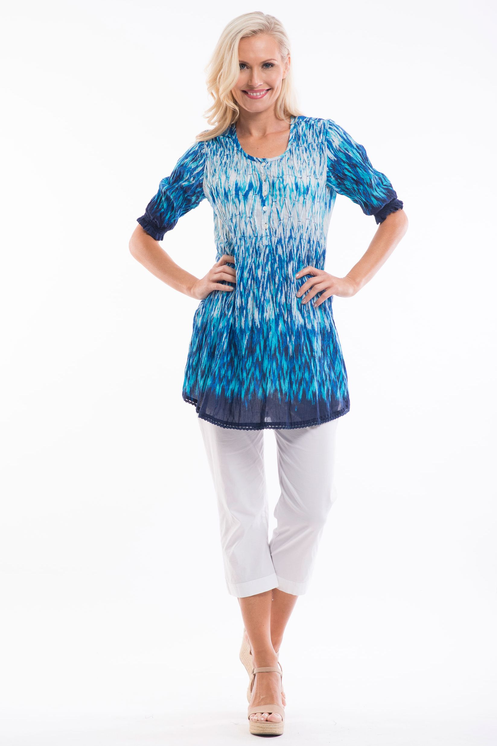 Blue White Ice Tunic Top | I Love Tunics | Tunic Tops | Tunic Dresses | Women's Tops | Plus Size Australia | Mature Fashion