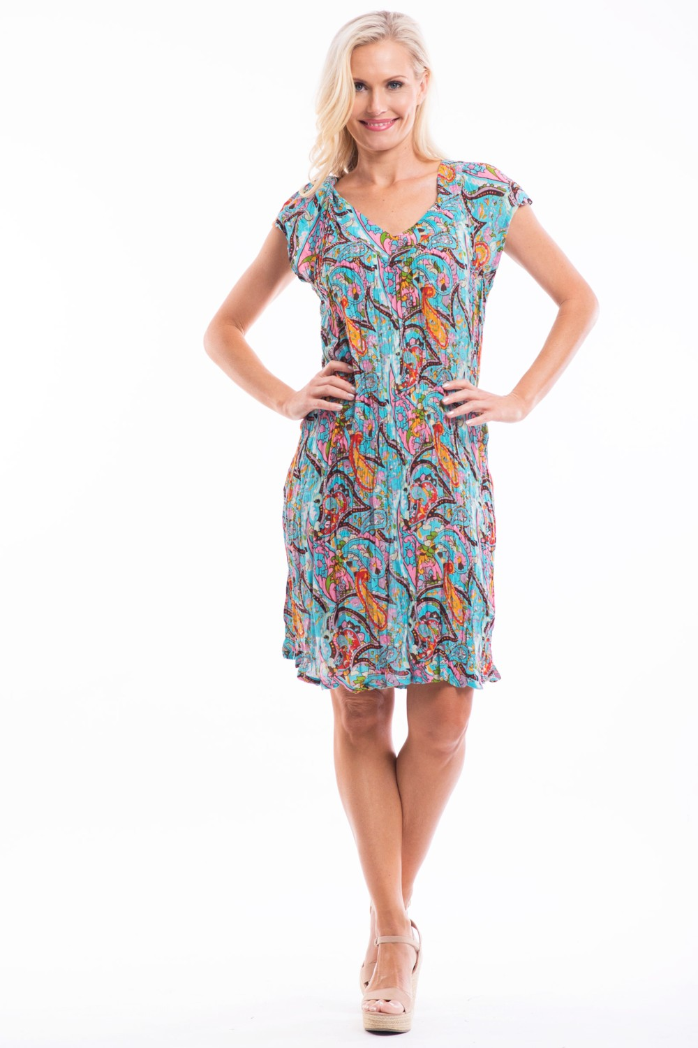 Aqua Paisley Crinkle Tunic Dress | I Love Tunics | Tunic Tops | Tunic Dresses | Women's Tops | Plus Size Australia | Mature Fashion